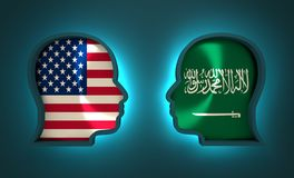 Politic and economic relationship between USA and Saudi Arabia. Image relative to politic and economic relationship between USA and Saudi Arabia. National flags Stock Images