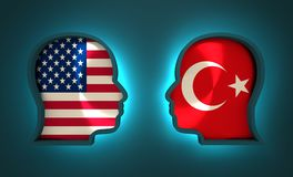 Politic and economic relationship between USA and Turkey Stock Images