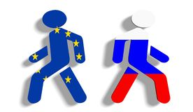 Politic problem between russia and europe union relative background Stock Images