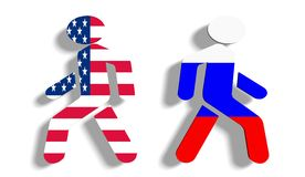 Politic problem between russia and usa relative background Royalty Free Stock Images