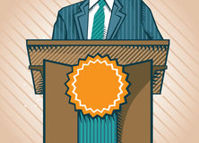 Politic standing near tribune. Abstract politic standing near tribune - vector illustration Royalty Free Stock Photo