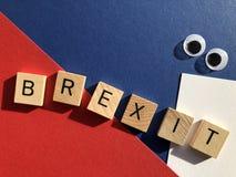 Politica britannica, Brexit ed occhi googly immagini stock