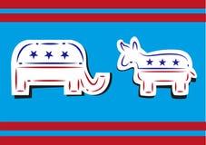Politica degli Stati Uniti Linea tratteggiata democratica Art Style dell'elefante del repubblicano e dell'asino Immagini Stock