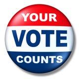 Politica patriottica di elezione del distintivo del tasto di voto Fotografie Stock