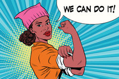 Political activist black woman we can do it. Pink cat hat. Vintage pop art retro vector illustration vector illustration