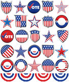 Political Badges. Various stars, shields and buttons to add to your campaign efforts Stock Photo