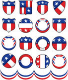 Political Badges. Various stars, shields and buttons to add to your campaign efforts Royalty Free Stock Photos