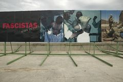 Political billboards showing Iraq Abu Ghraib Prison abuse pictures at American Embassy in Havana, Cuba Royalty Free Stock Image