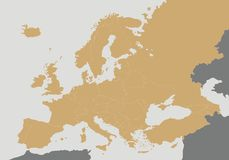Political blank Europe Map vector illustration. Stock Photo