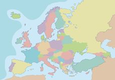Political blank map of Europe with different colors for each country. Royalty Free Stock Images