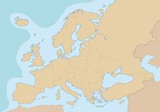 Political blank map of Europe. Royalty Free Stock Images
