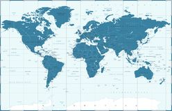Political Blue World Map Vector royalty free illustration