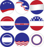 Political Buttons. And icons decorated with stars and stripes Royalty Free Stock Photography