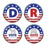 Political Buttons Both Parties. Political Button Democrat Republican Both Parties Vote Blue Vote Red with Chrome Ring USA royalty free illustration