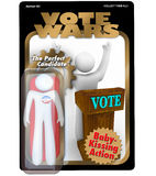 Political Candidate Action Figure Vote Election. A candidate for election is packaged and sold as an action figure to promote his political campaign and quest Royalty Free Stock Image