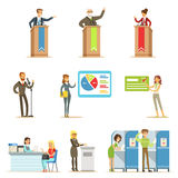 Political Candidates And Voting Process Series Of Democratic Elections Themed Illustrations. Cartoon Characters Placing Their Votes In Ballot Boxes And stock illustration