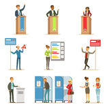 Political Candidates And Voting Process Set Of Democratic Elections Themed Illustrations. Cartoon Characters Placing Their Votes In Ballot Boxes And Politician royalty free illustration