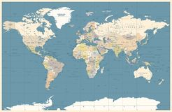 Political Colored Dark World Map Vector. Illustration royalty free illustration