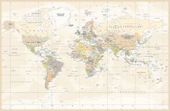 Political Colored Vintage World Map Vector vector illustration