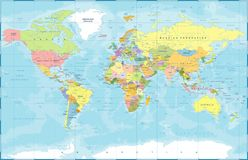 Free Political Colored World Map Vector Royalty Free Stock Images - 109373619
