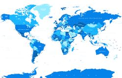 Political Colored World Map Vector. Political Physical Topographic Colored World Map Vector illustration Royalty Free Stock Photo