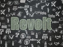 Political concept: Revolt on School board background. Political concept: Chalk Green text Revolt on School board background with  Hand Drawn Politics Icons Stock Photos