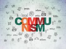 Political concept: Communism on Digital Data Paper background. Political concept: Painted multicolor text Communism on Digital Data Paper background with  Hand Stock Image
