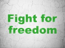 Political concept: Fight For Freedom on wall background. Political concept: Green Fight For Freedom on textured concrete wall background Stock Photo