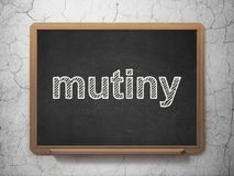 Political concept: Mutiny on chalkboard background Stock Photo