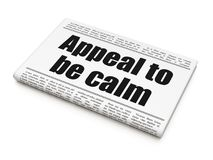 Political concept: newspaper headline Appeal To Be Calm. On White background, 3D rendering Stock Photos