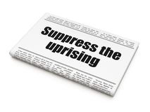 Political concept: newspaper headline Suppress The Uprising. On White background, 3D rendering Stock Images