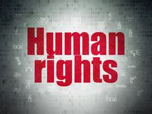 Political concept: Human Rights on Digital Data Paper background. Political concept: Painted red text Human Rights on Digital Data Paper background with  Hand Stock Photography