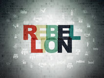 Political concept: Rebellion on Digital Data Paper background. Political concept: Painted multicolor text Rebellion on Digital Data Paper background with  Hand Stock Photos