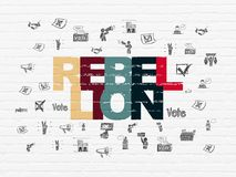 Political concept: Rebellion on wall background. Political concept: Painted multicolor text Rebellion on White Brick wall background with  Hand Drawn Politics Stock Image