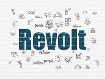 Political concept: Revolt on wall background. Political concept: Painted blue text Revolt on White Brick wall background with  Hand Drawn Politics Icons Royalty Free Stock Images