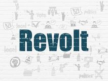 Political concept: Revolt on wall background. Political concept: Painted blue text Revolt on White Brick wall background with Scheme Of Hand Drawn Politics Icons Royalty Free Stock Image