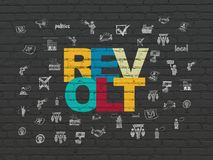 Political concept: Revolt on wall background. Political concept: Painted multicolor text Revolt on Black Brick wall background with  Hand Drawn Politics Icons Stock Image