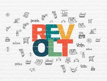 Political concept: Revolt on wall background. Political concept: Painted multicolor text Revolt on White Brick wall background with  Hand Drawn Politics Icons Royalty Free Stock Photography