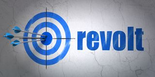 Political concept: target and Revolt on wall background. Success political concept: arrows hitting the center of target, Blue Revolt on wall background, 3D royalty free illustration