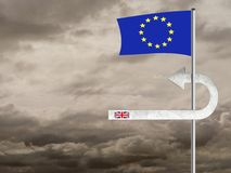 Brexit UK Eu negotiation difficulties.BREXIT sign changing direc Stock Photography