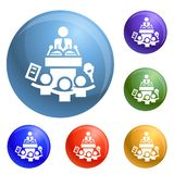 Political conference icons set vector royalty free illustration