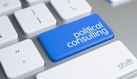 Political Consulting - Caption on the Blue Keyboard Key. 3D. royalty free stock images