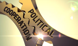 Political Cooperation Concept. Golden Metallic Cogwheels. 3D. Stock Images