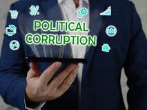 POLITICAL CORRUPTION text in search line. Merchant looking for something at computer. POLITICAL CORRUPTION concept