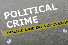 Political Crime concept. 3D illustration of POLITICAL CRIME title on the ground in a police arena Royalty Free Stock Photos