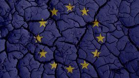 Political Crisis Concept: Mud Cracks With EU Flag royalty free stock images