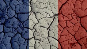 Political Crisis Concept: Mud Cracks With France Flag stock photo