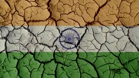 Political Crisis Concept: Mud Cracks With India Flag royalty free stock photography