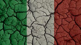Political Crisis Concept: Mud Cracks With Italy Flag royalty free stock image