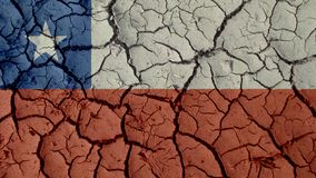 Mud Cracks With Chile Flag. Political Crisis Or Environmental Concept: Mud Cracks With Chile Flag royalty free stock photos
